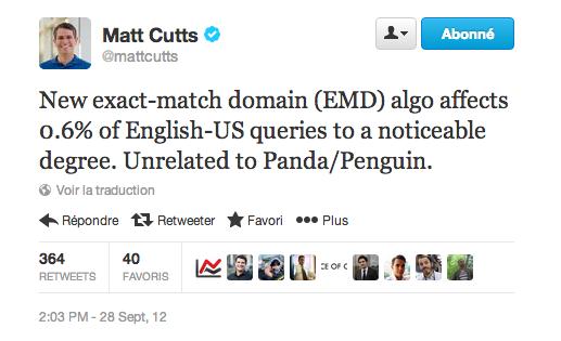 Mise à jour EMD - Matt Cutts - 1
