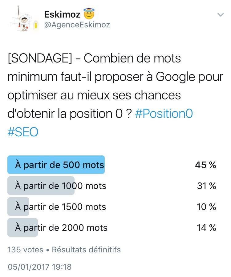Combien de mots minimum faut-il proposer a Google pour obtenir la position 0 ?