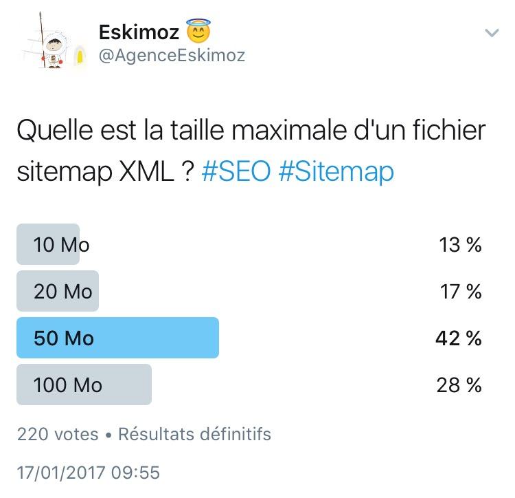 Quelle est la taille maximale d'un fichier sitemap XML ?